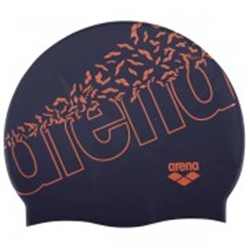 GORRO SILICONA ARENA PRINT 2 BLUE NAVY-ORANGE 1E368