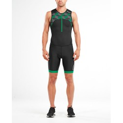 PERFORM FRONT ZIP TRISUIT BLACK-GEO NEON GREEN MT4848D